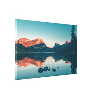 Orange and Teal Serene Lake Scene Canvas Print