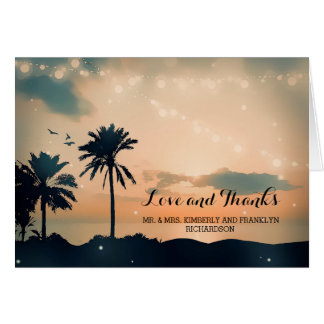 Orange and Teal Sunset Beach Wedding Thank You Note Card