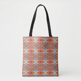 Orange and turquoise abstract tote