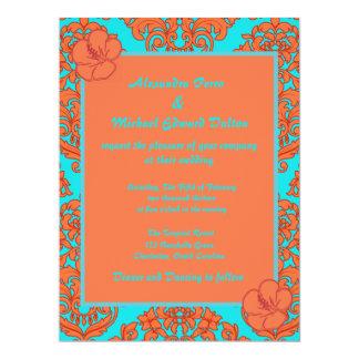 Orange and Turquoise Damask 17 Cm X 22 Cm Invitation Card