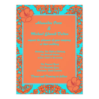 Orange and Turquoise Damask Card