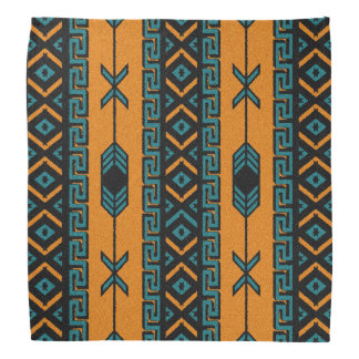 Orange And Turquoise Tribal Aztec Pattern Bandanna