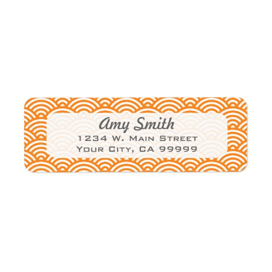 Orange and White Asian Pattern Return Address Label