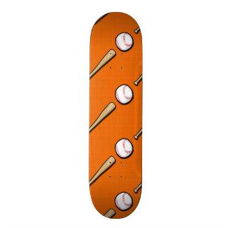 Orange and White Baseball Pattern Skateboards