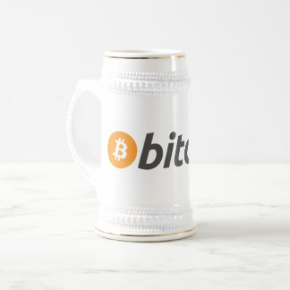 Orange and white bitcoin with text beer stein