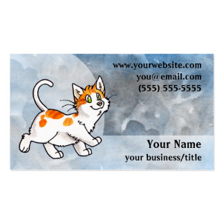 Orange and White Cat Business Card - Blue and Gray