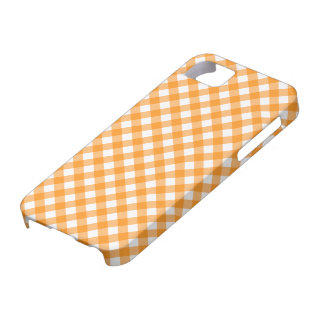 Orange and white checkered gingham pattern iPhone 5 cases