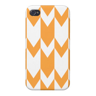 Orange and White Chevron Pattern. iPhone 4 Cover