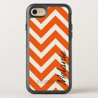 Orange and White Chevron Pattern with Monogram OtterBox Symmetry iPhone 7 Case
