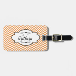 Orange and White Chevron Stripe Luggage Tag