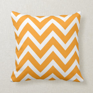 Orange and White Chevron Stripes Pillow
