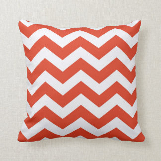 Orange and White Chevron Stripes Throw Pillow