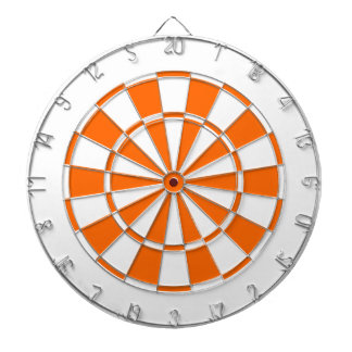 orange and white dartboard