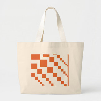 Orange and White Descending Diamond Large Tote Bag