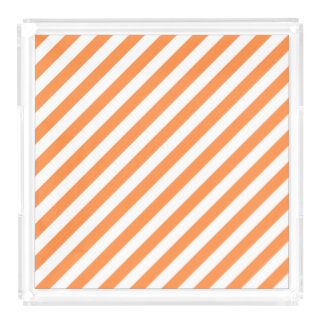 Orange and White Diagonal Stripes Pattern Acrylic Tray