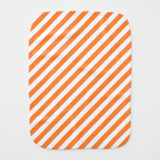 Orange and White Diagonal Stripes Pattern Burp Cloth