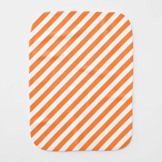 Orange and White Diagonal Stripes Pattern Burp Cloths