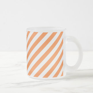 Orange and White Diagonal Stripes Pattern Frosted Glass Coffee Mug