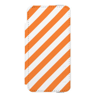 Orange and White Diagonal Stripes Pattern Incipio Watson™ iPhone 5 Wallet Case