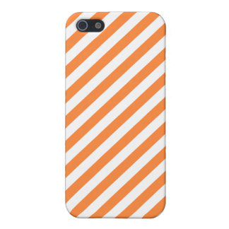 Orange and White Diagonal Stripes Pattern iPhone 5/5S Case