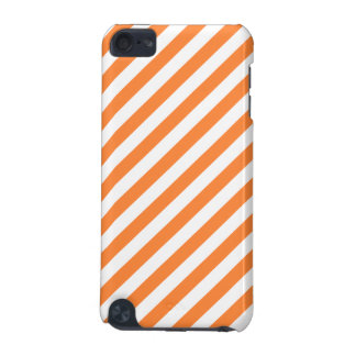 Orange and White Diagonal Stripes Pattern iPod Touch (5th Generation) Covers