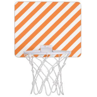 Orange and White Diagonal Stripes Pattern Mini Basketball Hoop