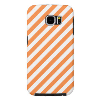 Orange and White Diagonal Stripes Pattern Samsung Galaxy S6 Cases