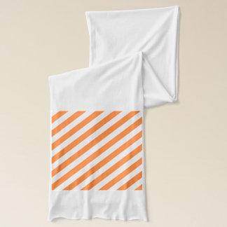 Orange and White Diagonal Stripes Pattern Scarf