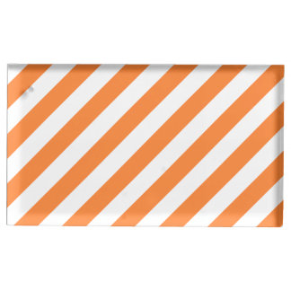 Orange and White Diagonal Stripes Pattern Table Card Holder