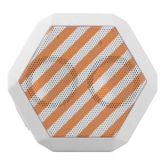 Orange and White Diagonal Stripes Pattern White Bluetooth Speaker