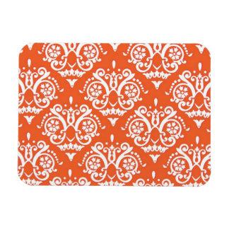 Orange and White Elegant Damask Rectangular Photo Magnet