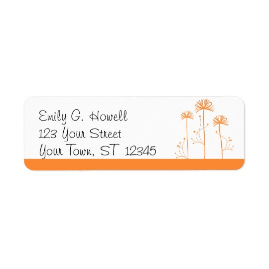 Orange and White Floral Avery Label Return Address Label