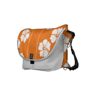 Orange and  White Floral Messenger Bag