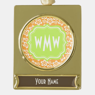 Orange and White Floral Pattern Custom Monogram Gold Plated Banner Ornament
