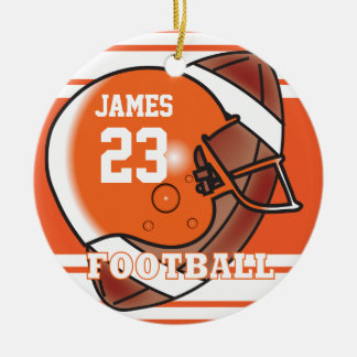 Orange and White Football   DIY Name and Number Ceramic Ornament