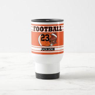 Orange and White Football Stainless Steel Travel Mug