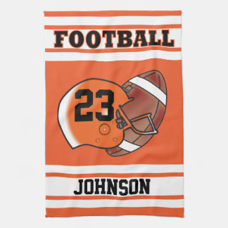Orange and White Football Hand Towels
