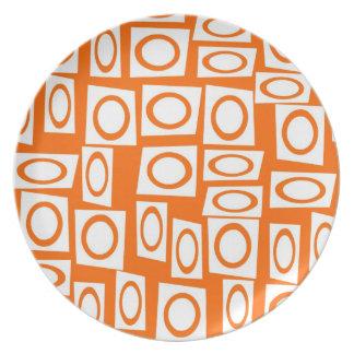 Orange and White Fun Circle Square Pattern Plate