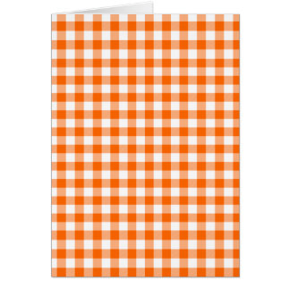 Orange and White Gingham Card