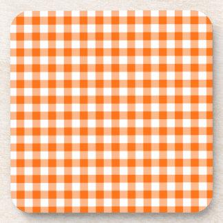 Orange and White Gingham Coaster