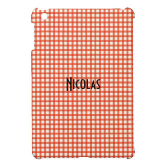 Orange and White Gingham Pattern Personalized Name Cover For The iPad Mini