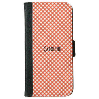 Orange and White Gingham Pattern Personalized Name iPhone 6 Wallet Case