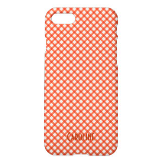 Orange and White Gingham Pattern Personalized Name iPhone 7 Case