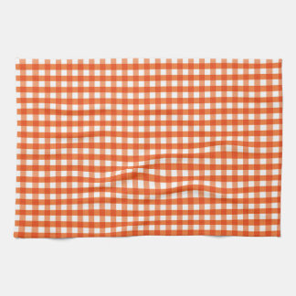 Orange and White Gingham Pattern Hand Towel