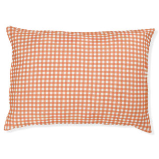 Orange and White Gingham Pet Bed