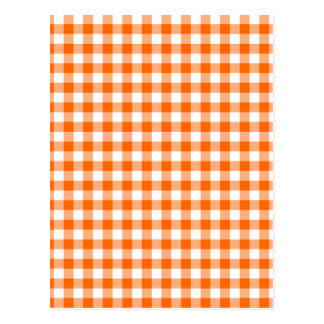 Orange and White Gingham Postcard