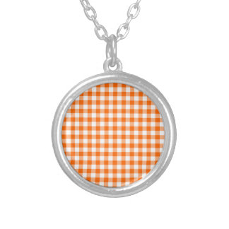 Orange and White Gingham Silver Plated Necklace