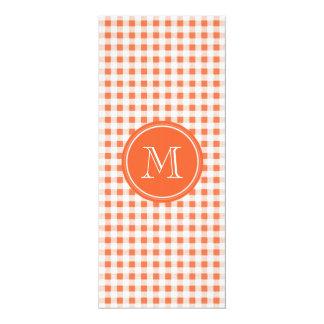 orange and White Gingham, Your Monogram 10 Cm X 24 Cm Invitation Card
