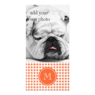 Orange and White Gingham, Your Monogram Photo Greeting Card