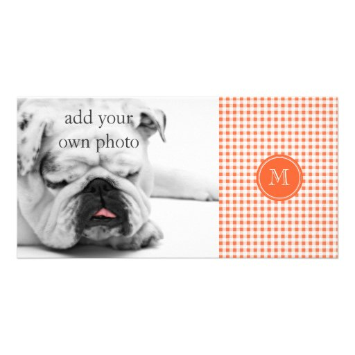 orange and White Gingham, Your Monogram Photo Card Template